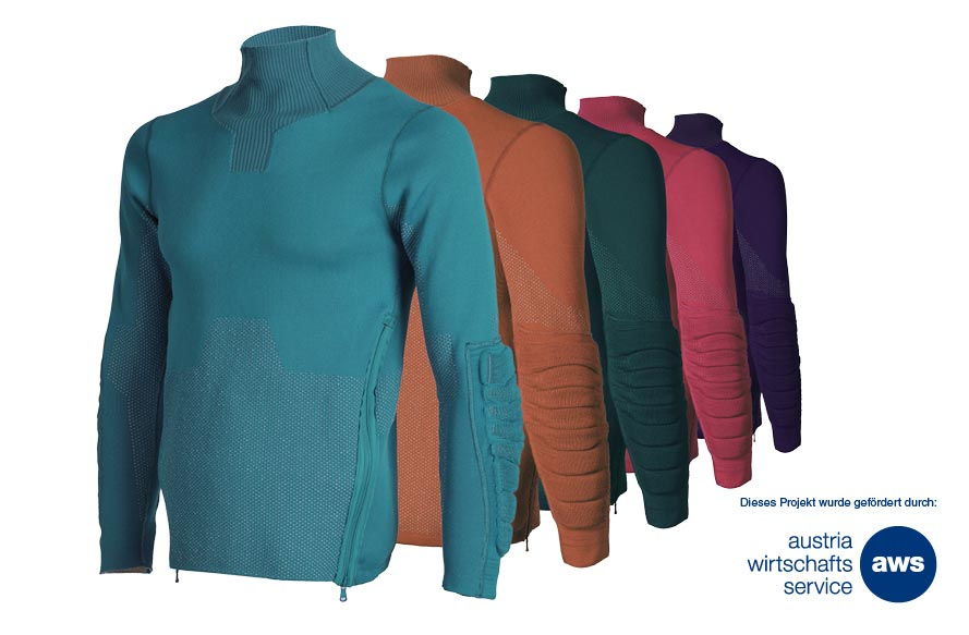 With the rapid knitted shock absorber technology a new standard is defined in the production of finely-shaped integrated 3D-knits in garments and equipment.